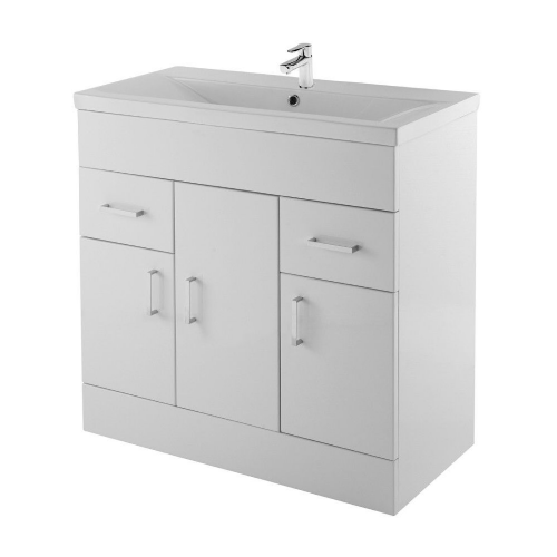 Ice Cube 800mm Floor Standing Cabinet & Mid-Edge Basin
